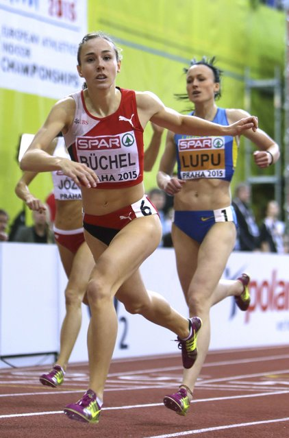 Selina Buchel of Switzerland wins the women's 800 metres final in front of third placed Nataliya Lupu of Ukraine (R) during the European Indoor Championships in Prague March 8, 2015. REUTERS/David W Cerny (CZECH REPUBLIC  - Tags: SPORT ATHLETICS)