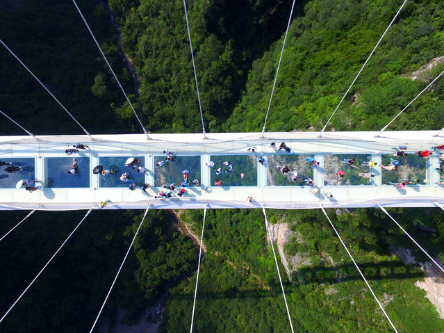 """Aerial view photo shows tourists visiting on the glass-bottom bridge at Zhangjiajie Grand Canyon on August 20, 2016 in Zhangjiajie, Hunan Province of China. The Zhangjiajie Grand Canyon's glass-bottomed bridge welcame its trial operation on Saturday and about 8,000 tourists crowded to view the grand glass bridge. Stretching 430 meters long and 6 meters wide, hovering over a 300-meter-deep valley between two cliffs in the canyon area, the much-awaited """"world's highest and longest"""" glass-bottomed bridge has already set world records for its architecture and construction. (Photo by VCG/VCG via Getty Images)"""