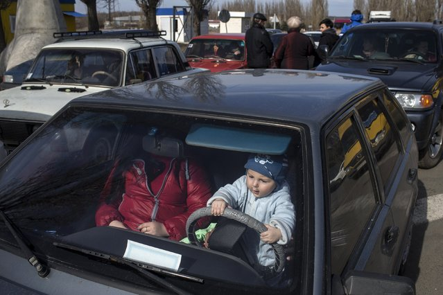 A child plays inside a car with his family while waiting to cross the Uspenka border crossing between Ukraine and Russia, southeast from Donetsk, March 15, 2015. (Photo by Marko Djurica/Reuters)