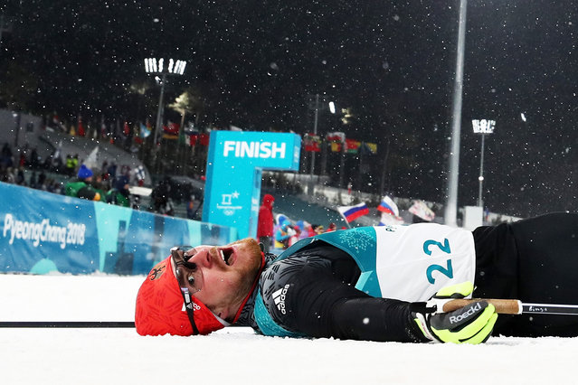 Thomas Bing of Germany lays on the snow during the Cross-Country Men's Sprint Classic Quarterfinal on day four of the PyeongChang 2018 Winter Olympic Games at Alpensia Cross-Country Centre on February 13, 2018 in Pyeongchang-gun, South Korea. (Photo by Al Bello/Getty Images)