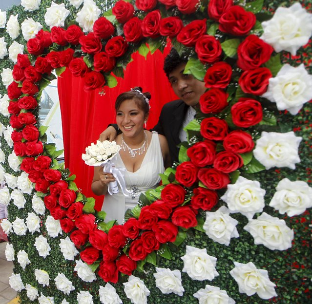 A couple poses for a picture after a mass wedding ceremony ahead of Valentine's Day celebrations in Lima, Peru, February 12, 2016. 67 couples tied the knot in a mass wedding sponsored by the mayor of Chorrillos. (Photo by Janine Costa/Reuters)