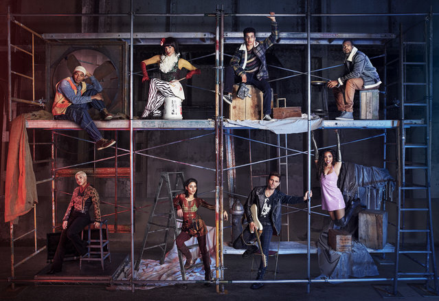 """This image released by Fox shows the cast of """"Rent"""", from top left, Brandon Victor Dixon as Tom Collins, Valentina as Angel Dumont Schunard, Jordan Fisher as Mark Cohen, Mario as Benjamin Coffin III, and from bottom left, Kiersey Clemons as Joanne Jefferson, Vanessa Hudgens as Maureen Johnson, Brennin Hunt as Roger Davis and Tinashe as Mimi Marquez, airing Sunday, January 27 on Fox. (Photo by Pamela Littky/FOX via AP Photo)"""