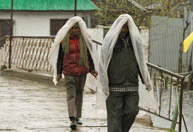 Indian laborers shield themselves with plastic sheets as it rains in Srinagar, Indian-controlled Kashmir, Wednesday, April 1, 2015. (Photo by Mukhtar Khan/AP Photo)