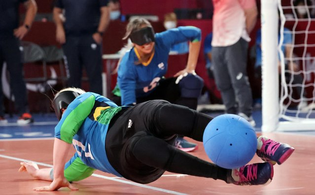 Ana Gabriely Brito Assuncao of Brazil in action in women's goalball quarterfinals against China at Makuhari Messe Hall C in Chiba, Japan on September 1, 2021. (Photo by Ivan Alvarado/Reuters)