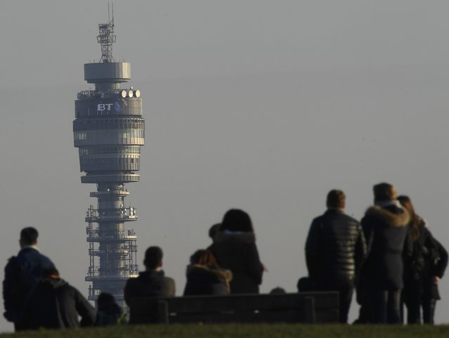 The company logo for BT is seen on the BT Tower in London, Britain, January 24, 2017. (Photo by Toby Melville/Reuters)