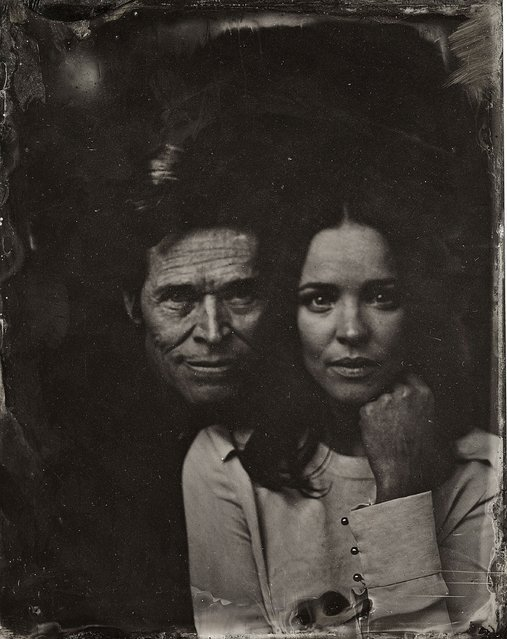 Rachel McAdams and Williem Defoe pose for a tintype (wet collodion) portrait at The Collective and Gibson Lounge Powered by CEG, during the 2014 Sundance Film Festival in Park City, Utah. (Photo by Victoria Will/AP Photo/Invision)