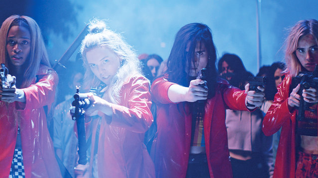 """Assassination Nation"" stars Hari Nef and Odessa Young open up about their timely, bloody survival flick where ""righteousness is the villain"". (Photo by AP Photo)"