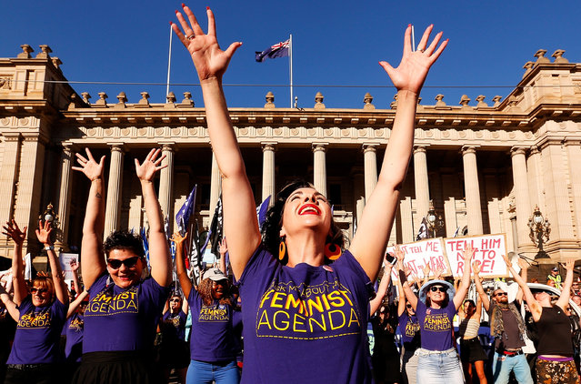 Thousands of demonstrators attend a Rally for International Women's Day on March 8, 2017 in Melbourne, Australia. Marchers were calling for de-conolisation of Australia, an end to racism, economic justice for all women and reproductive justice, as well as supporting the struggle for the liberation of all women around the world, inclusive of trans women and s*x workers. (Photo by Daniel Pockett/Getty Images)