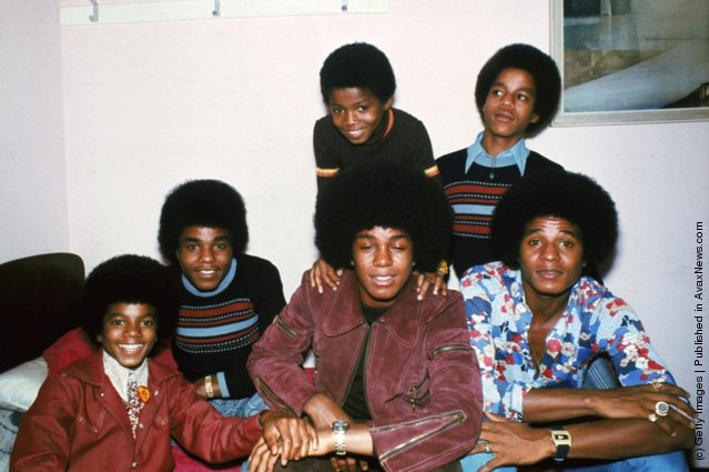 Motown singers the Jackson brothers, Jackie, Tito, Jermaine, Marlon, Michael and Randy in London, October 1972