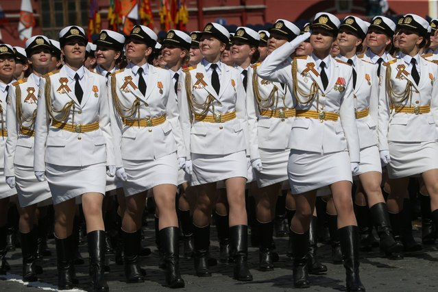 Russian female officers marched in the Victory Day Parade in Red Square on May 9, 2016 in Moscow, Russia. The celebrations marked the 71st anniversary of the defeat of Germany in WWII. (Photo by Mikhail Svetlov/Getty Images)