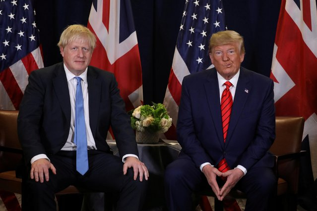 U.S. President Donald Trump holds a bilateral meeting with British Prime Minister Boris Johnson on the sidelines of the annual United Nations General Assembly in New York City, New York, U.S., September 24, 2019. (Photo by Jonathan Ernst/Reuters)