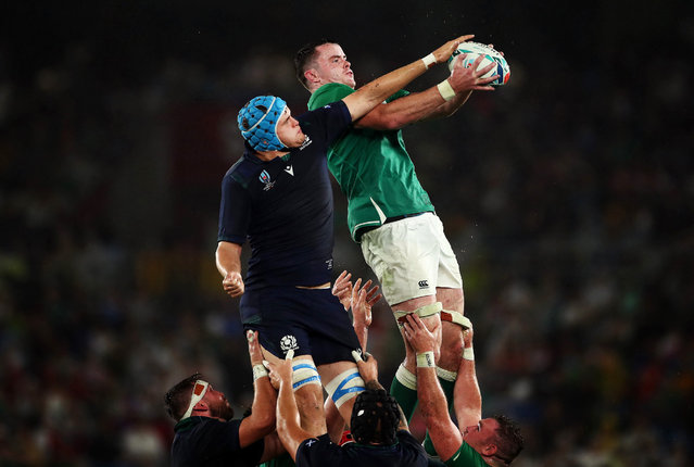 James Ryan of Ireland wins a line out during the Rugby World Cup 2019 Group A game between Ireland and Scotland at International Stadium Yokohama on September 22, 2019 in Yokohama, Kanagawa, Japan. (Photo by Cameron Spencer/Getty Images)