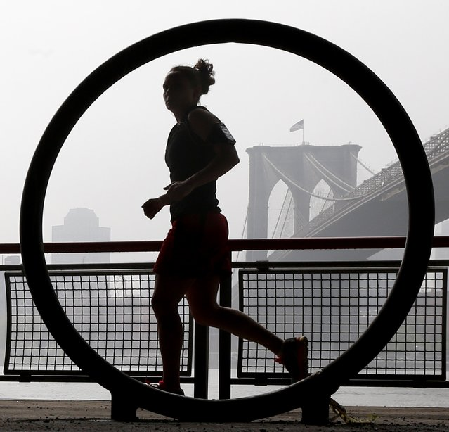 A woman jogs along the East River waterfront as thick fog blankets over the Brooklyn Bridge seen through a bicycle rack, Saturday, May 10, 2014, in New York. (Photo by Julio Cortez/AP Photo)