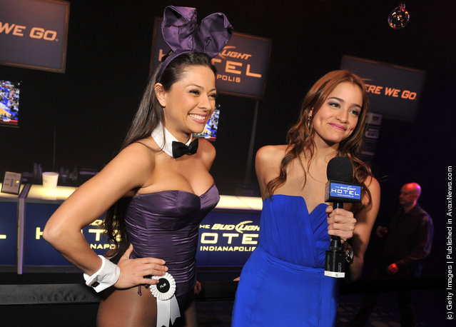 Bud Light Hotel Correspondent Leila Mahadin (R) interviews a Playboy Bunny at the 2012 Playboy Party hosted by Bud Light Hotel at Bud Light Hotel