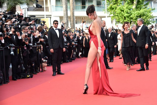 "Bella Hadid attends ""The Unknown Girl (La Fille Inconnue)"" Premiere during the 69th annual Cannes Film Festival at the Palais des Festivals on May 18, 2016 in Cannes, France. (Photo by Alberto Pizzoli/AFP Photo)"
