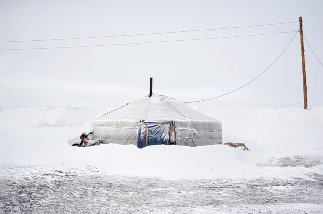 Asia, Mongolia, March 17, 2011. An abandoned gher submerged by snow. This gher rises close to the Tsamba family one and it has been left by a herding family after a snowstorm in the proximity of Ulziit village. (Photo by Alessandro Grassani)