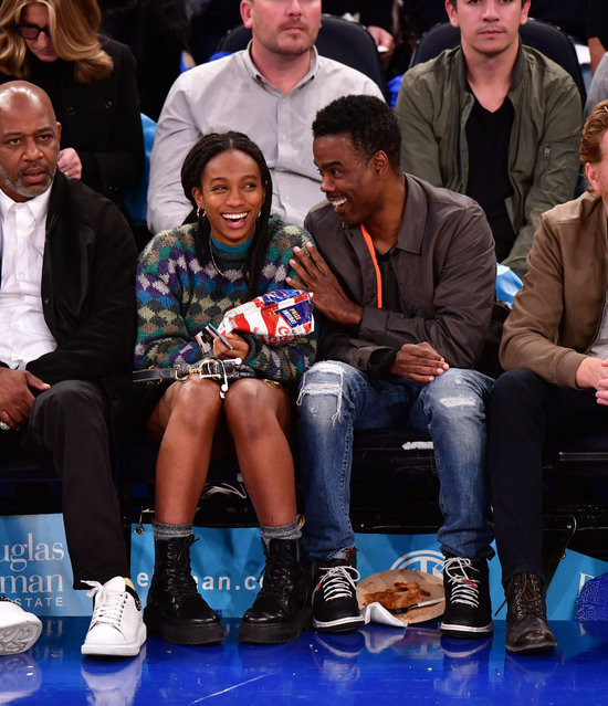 Zahra Savannah Rock and Chris Rock attend Boston Celtics v New York Knicks game at Madison Square Garden on October 26, 2019 in New York City. (Photo by James Devaney/Getty Images)