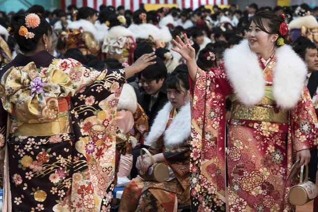 Women wearing kimonos attend a Coming of Age ceremony at the Toshimaen amusement park on January 13, 2020 in Tokyo, Japan. (Photo by Tomohiro Ohsumi/Getty Images)