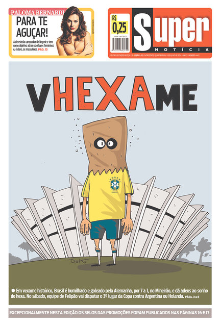 "Pun on the word ""Vexame"" which means shame with the word ""Hexa"", the word for sixth (World Cup). (Photo by Yahoo Sports)"
