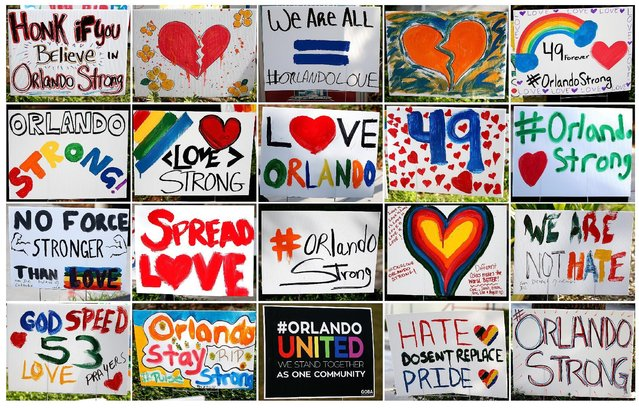 A combination image of signs showing support for the victims of the Pulse nightclub shooting in Orlando, Florida, U.S., June 17, 2016. (Photo by Carlo Allegri/Reuters)