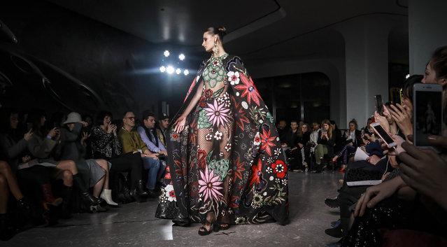 A model displays fashion from Naeem Khan during New York's Fashion Week, Tuesday, February 11, 2020. (Photo by Bebeto Matthews/AP Photo)