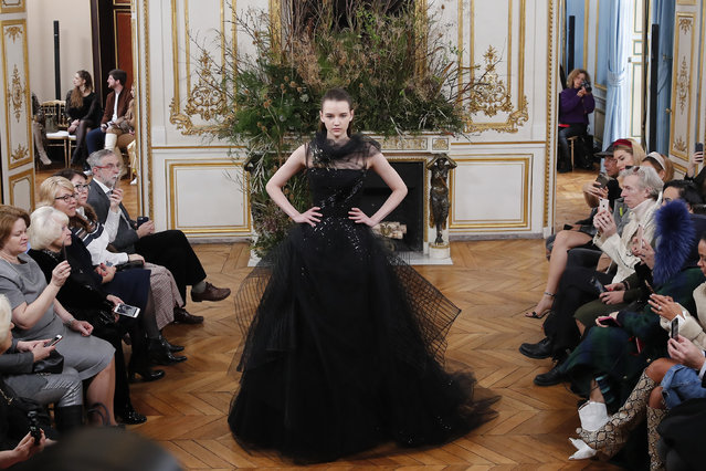 A model wears a creation for Valentin Yudashkin fashion collection during Women's fashion week Fall/Winter 2020/21 presented in Paris, Tuesday, March 3, 2020. (Photo by Francois Mori/AP Photo)