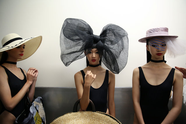 Models wait backstage ahead of the Eugenia Kim Spring/Summer 2018 fashion show during New York Fashion Week in New York, U.S., September 10, 2017. (Photo by Amr Alfiky/Reuters)