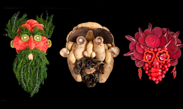 """Photographer Emily Dryden and sculptor/actor Zahydé Pietri combine theatricality and organic produce to compose the photographs for their series Fresh Faces. The portraits are made from a wide range of fruit and vegetables and aim to highlight humanity's diversity – Pietri is from Puerto Rico and Dryden is from New York. Each face has its own name and identity: """"We have stories for them, which you can see in the expressions"""", says Dryden, """"but we decided to keep them to ourselves. We didn't want to spoil that"""". (Photo by Emily Dryden and Zahydé Pietri/The Guardian)"""