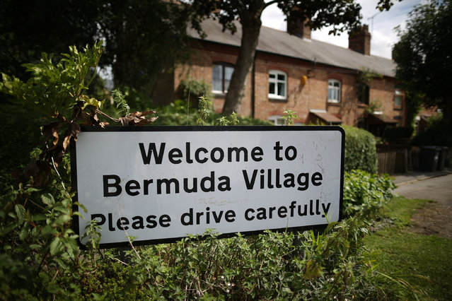 A road sign welcomes visitors on August 5, 2013 in Bermuda, England. Originally built for local coal mine workers in the 1890s the village of Bermuda, in the county of Warwickshire, was named for local landowner and former Governor of Bermuda Edward Newdegate.  (Photo by Peter Macdiarmid/Getty Images)