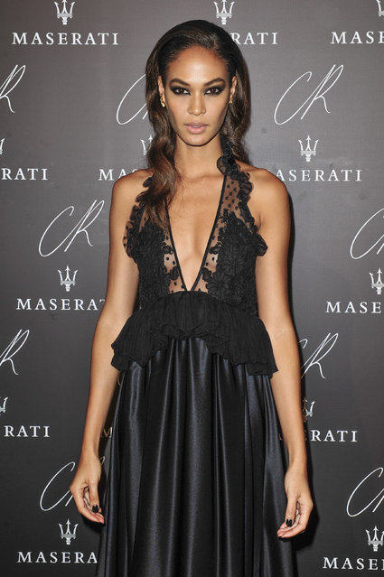 Puerto Rican fashion model Joan Smalls poses at Carine Roitfeld & Stephen Gan celebration of the launch of CR Fashion Book N.5 in Paris, Tuesday, September 30, 2014. (Photo by Zacharie Scheurer/AP Photo)