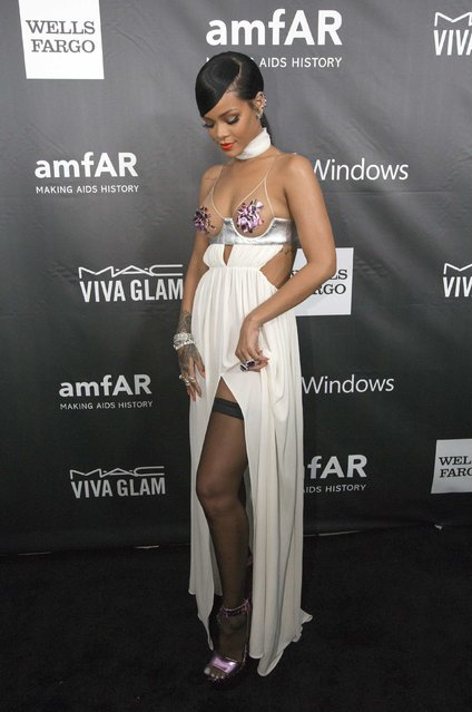 Singer Rihanna poses at amfAR's fifth annual Inspiration Gala in Los Angeles, California October 29, 2014. (Photo by Mario Anzuoni/Reuters)