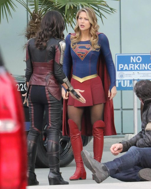 Supergirl Melissa Benoist and Amy Jackson as Saturn Girl film scenes attending to an accident for Supergirl. Vancouver, Canada on Tuesday, February 13, 2018. (Photo by Kred/PacificCoastNews)