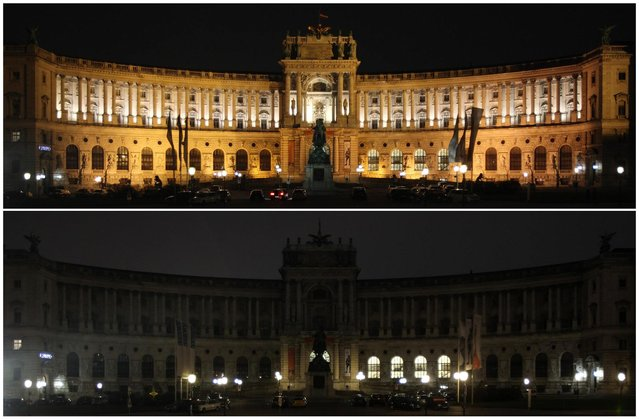 A combination picture shows Hofburg Palace before (top) and during Earth Hour in Vienna March 23, 2013. Earth Hour, when everyone around the world is asked to turn off the lights for an hour from 8.30 pm local time, is meant as a show of support for tougher actions to combat climate change. (Photo by Heinz-Peter Bader/Reuters)