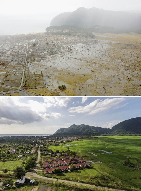 TOP IMAGE: An aerial shot taken from a US Navy Seahawk helicopter from carrier USS Abraham Lincoln shows devastation caused by the Indian Ocean tsunami to the west of Aceh on January 8, 2005 in Banda Aceh, Indonesia. (Photo by Dimas Ardian/Getty Images) BOTTOM IMAGE: An aerial view of houses in Lampuuk prior to the ten year anniversary of the 2004 earthquake and tsunami on December 11, 2014 in Banda Aceh, Indonesia. (Photos by Ulet Ifansasti/Getty Images)