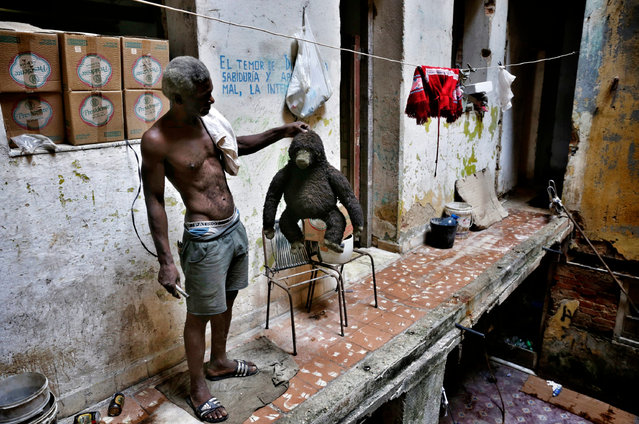A man lifts up a toy gorilla, one of the few things that he did not lose after his house at the waterfront Malecon was flooded when Hurricane Irma passed over Cuba on September 18, 2017 in Havana, Cuba. Cuba's government has announced that it will pay 50 percent of the materials needed to rebuild houses damaged by Irma. (Photo by Sven Creutzmann/Mambo photo/Getty Images)