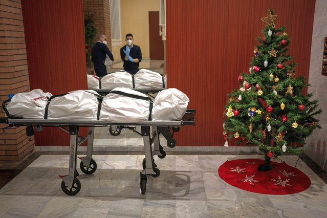 Mortuary workers take off their protective clothing at the entrance of a building decorated with a Christmas tree, after removing the body of person who allegedly died of COVID-19 in Barcelona, Spain, Wednesday, December 23, 2020. (Photo by Emilio Morenatti/AP Photo)
