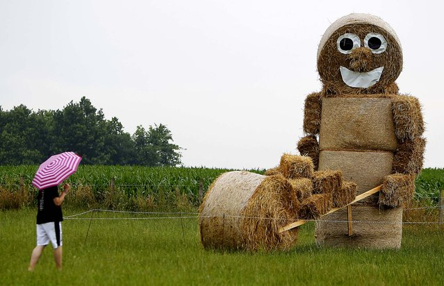 A figure made of bales of straw looms over a field in the Lueneburg  Heath, lower Saxony, Germany. (Photo by Axel Heimken/APN)