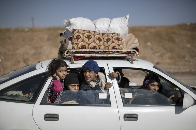 Displaced people in a convoy of cars drive away from Mosul, Iraq, Friday, November 4, 2016. (Photo by Felipe Dana/AP Photo)
