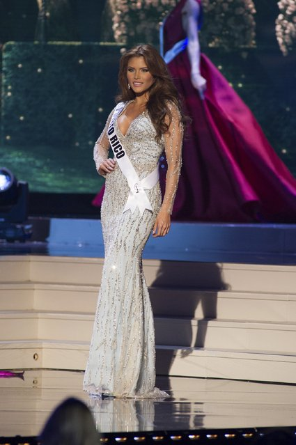 Gabriela Berrios, Miss Puerto Rico 2014 competes on stage in her evening gown during the Miss Universe Preliminary Show in Miami, Florida in this January 21, 2015 handout photo. (Photo by Reuters/Miss Universe Organization)