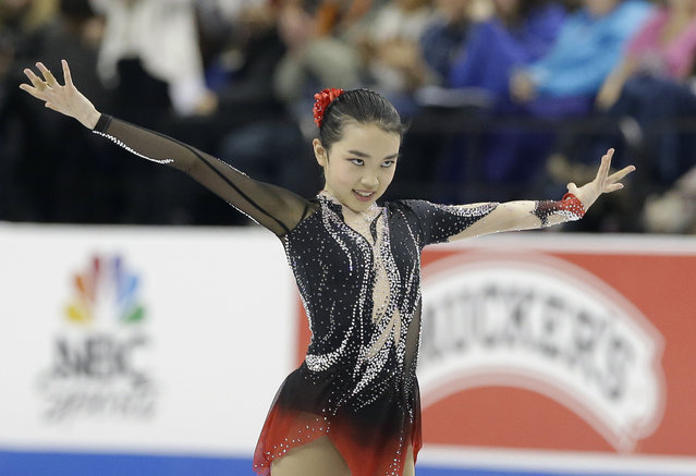 Karen Chen performs during the women's free skate program in the U.S. Figure Skating Championships in Greensboro, N.C., Saturday, January 24, 2015. (Photo by Gerry Broome/AP Photo)