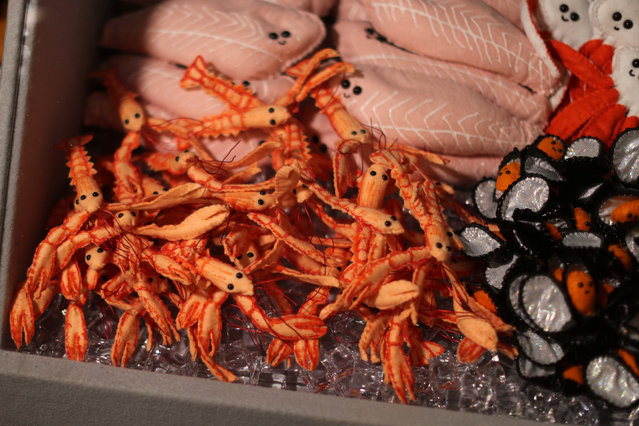 Seafood made from felt in a art installation supermarket in which everything is made of felt, in Los Angeles, California on July 31, 2018. (Photo by Lucy Nicholson/Reuters)