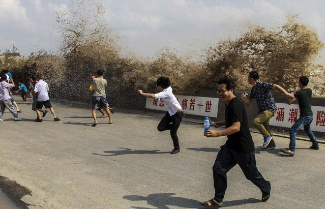 Visitors run away from a wave as it surges past a barrier on the banks of Qiantang River in Hangzhou, Zhejiang province, China, on September 20, 2013. (Photo by China Daily)