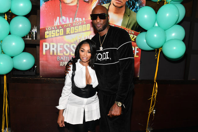 American television personality Karlie Redd and American former professional basketball player Lamar Odom attend Celebrity Boxing Press Conference: Battle of Love & Hip Hop on April 22, 2021 in Atlanta, Georgia. (Photo by Paras Griffin/Getty Images)