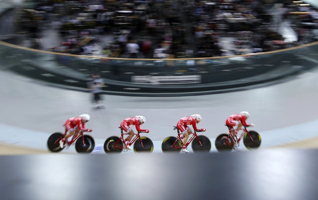 The Hong Kong team, including Pang Yao, Yang Qianyu, Leung Bo Yee and Meng Zhao Juan, competes during the women's team pursuit qualifying race at the UCI Track Cycling World Cup in Saint-Quentin-en-Yvelines, near Paris, February 18, 2015. (Photo by Charles Platiau/Reuters)