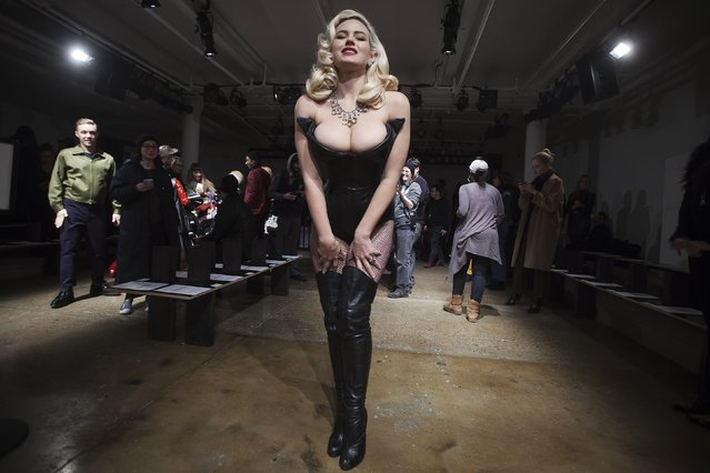 Model Gia Genevieve arrives before The Blonds 2015 collection show during New York Fashion Week February 18, 2015. Picture taken February 18, 2015. (Photo by Carlo Allegri/Reuters)