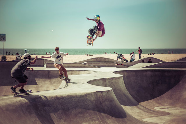 """""""Venice Beach, Los Angeles, is as much a photographer's paradise as a skateboarder's. At this oceanfront skatepark the action rarely stops"""". (Photo by Nick Jackson/The Guardian)"""