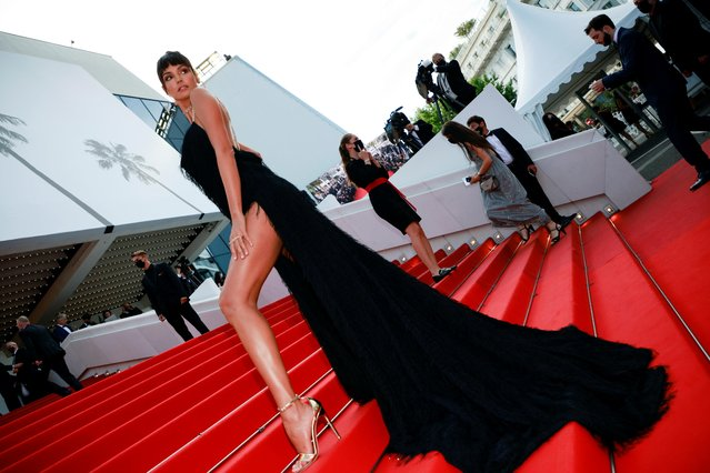 """Brazilian model Sofia Resing arrives for the screening of the film """"France"""" at the 74th edition of the Cannes Film Festival in Cannes, southern France, on July 15, 2021. (Photo by Sarah Meyssonnier/Reuters)"""