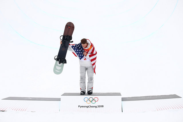 Gold medalist Shaun White of the United States poses during the victory ceremony for the Snowboard Men's Halfpipe Final on day five of the PyeongChang 2018 Winter Olympics at Phoenix Snow Park on February 14, 2018 in Pyeongchang-gun, South Korea. (Photo by Cameron Spencer/Getty Images)