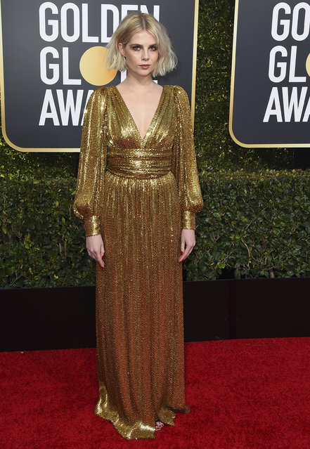 Lucy Boynton arrives at the 76th annual Golden Globe Awards at the Beverly Hilton Hotel on Sunday, January 6, 2019, in Beverly Hills, Calif. (Photo by Jordan Strauss/Invision/AP Photo)