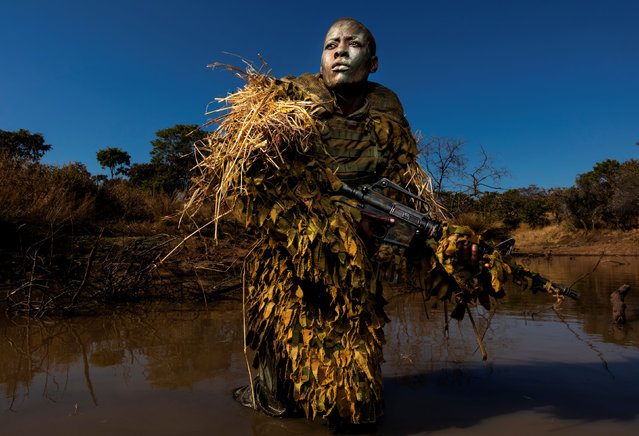 Photo of the year nominee: Akashinga – the Brave Ones, by Brent Stirton. Petronella Chigumbura, 30, a member of an all-female anti-poaching unit called Akashinga, undergoes stealth and concealment training in the Phundundu wildlife park, Zimbabwe. (Photo by Brent Stirton/Getty Images/World Press Photo 2019)
